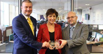 Claims Consortium MD Matt Brady, Rebecca Pow MP, and accreditation team leader Dennis O'Leary