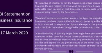 ABI issues statement on business insurance and the coronavirus